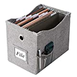 Linen File Boxes With Metal Sliding Rail For Letter Size [1pack] File Storage Box With Extra Pocket Storage Collapsible Hanging File Storage Organizer Storage Filing Boxes File Organizer Box (1)