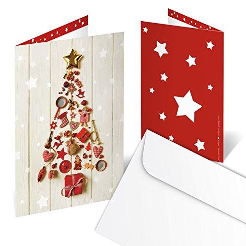 10 stuks kerstkaart rood wit goud beige kerstboom kerstkaart - zonder tekst - klapkaart met kubus zakenklanten handelspartner nostalgie klassiek foto-motief kerstmis
