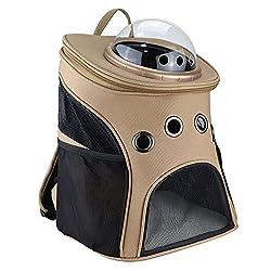 una mochila portadora de gato de lona con una gran ventana de ojo de buey