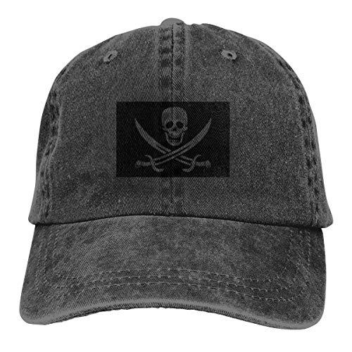REAL PEAZ Gorra de béisbol de algodón lavado, sombrero de sol clásico deportivo casual, color sólido ajustable, ligero, transpirable, bandera de pirata suave con espadas, gorra de béisbol ajus