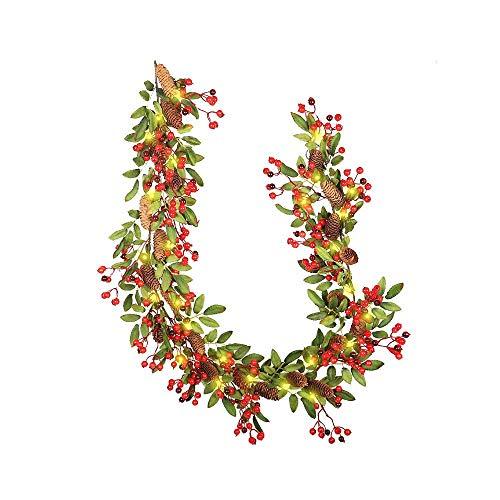 Surwin Guirnalda de Navidad Decoración con luz,180cm Guirnalda de Artificial Flor De Navidad con Luz para Decoración de Cono Grande del Pino de ratán,Jardín Corona con Luz Colgante Adornos (con luz)