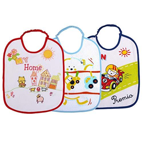 H HANSEL HOME Baberos Bebé Impermeables Algodón, Absorbente Babeando de Bebé Pack de 3 (Color B para Niño)