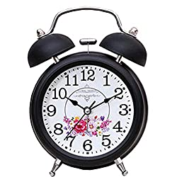 FirstDecor 4.7 3D Silent Quartz Analog Stereo Table Clocks Retro Vintage Metal Two Bell Alarm Clocks Desktop Clock Home Decoration Desk Clock Nightlight Loud Alarm
