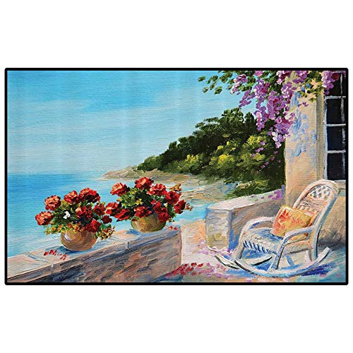 Lakehouse Decor Collection camper rugs outdoor floor rugs for living room Sea View from a Balcony with Cosy Rocking Chair and Flowers in Summer Clear Sky Oil Painting bedroom carpet Turquoise Red Lila