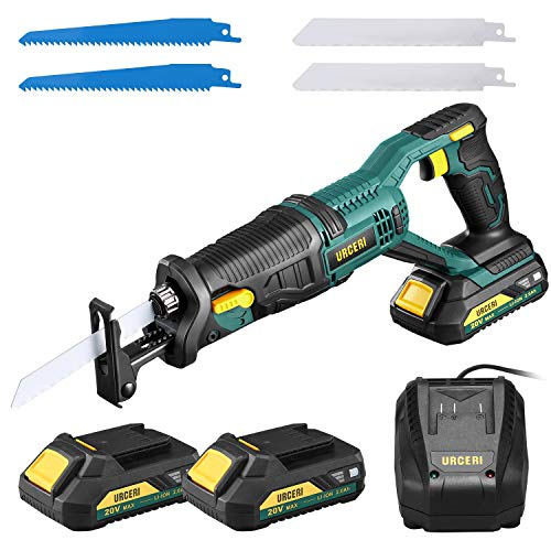 URCERI Cordless Reciprocating Saws 20V Reciprocating Saw 22.0 Ah Li-ion Batteries and Fast Charger 0-3000 SPM Variable Speed 2 6 Inch Wood Cutting Blades and 2 Soft Metal Cutting Blades
