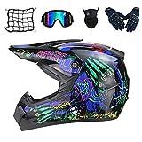 SKTLBB-Motorradhelm Motocross Helm Set,Motorradhelm con gafas (5 piezas) personalisierter Helm para urbanes Motorrad, Mountain Motocross casco, regalo