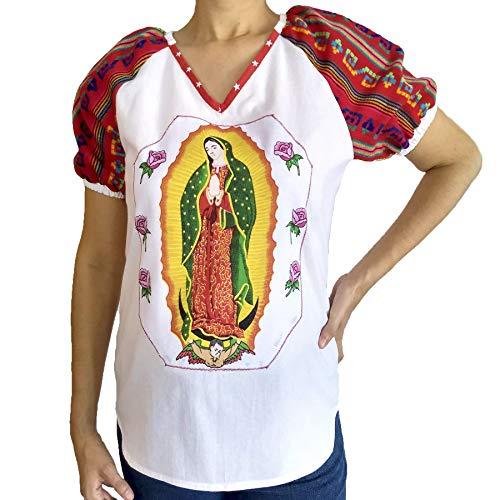 Jungfrau von Guadalupe Bluse Baumwolle Bestickte Kurzarm Guadalupana Mexikanische Handarbeit