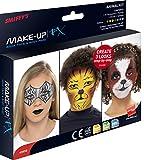 Smiffy's-43958 Maquillaje FX, Aqua pintura facial y de cuerpo, kit de animales, 8 colores, pincel, esponja y guía paso, multicolor, No es applicable (43958)