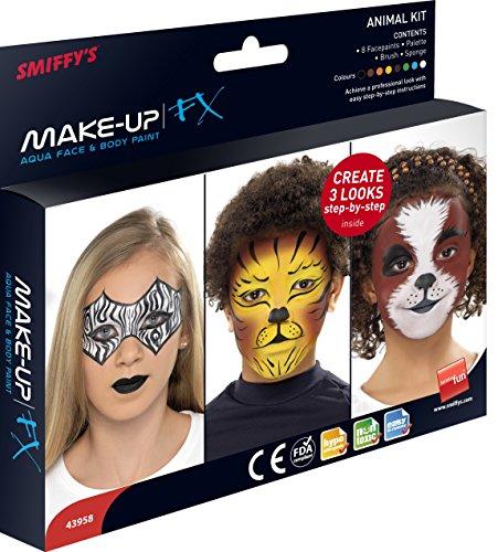 Smiffys Unisex Aqua Gesichts- und Körper Make-Up Set, 8 Farben, Pinsel, Schwamm und Anleitung, 43958