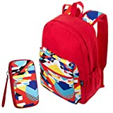 Sixteen18 Casual School 15 in Laptop Tablet Backpack and Zippered Travel Wristlet Pouch Set - Padded & Comfortable Large Commuter Daypack College Bookbag - 2-Piece Red Modern Set