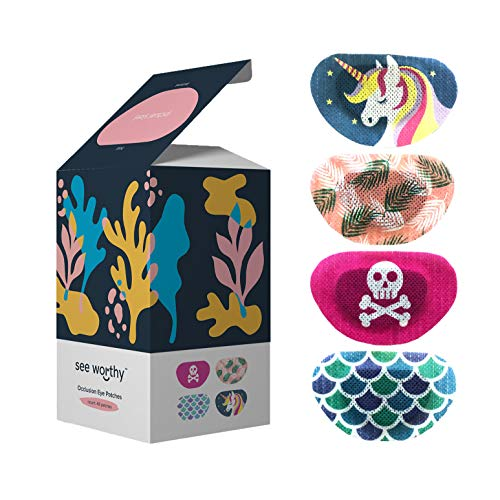 See Worthy Occlusion Eye Patches, Innovative Shape, Smart Adhesive Technology, Breathable Material and Fun Designs, (48 per Box) (Regular Size)
