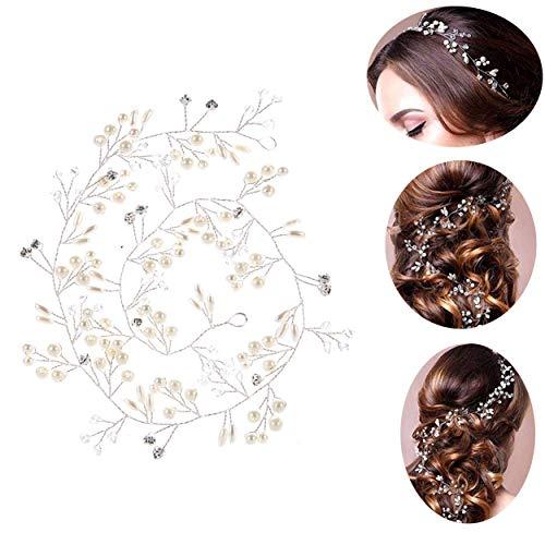 50cm Haardraht Hochzeit Haarschmuck Haardraht Perlen Strass Brautschmuck Braut Haarkamm Haarschmuck Kommunion Kopfschmuck Kopfabdeckung für Frauen und Mädchen