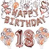 HOWAF Decoración de cumpleaños 18 en Oro Rosa, 59 Piezas Feliz cumpleaños Decoración Globos Guirnalda Banner 18 Años Globos de Confeti y Estrella Corazon Globos de Aluminio para niñas y Mujeres