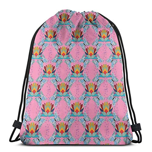 Sanme Bolsas de Mochilas con cordón, la Flor de la Prosperidad en el boceto de Oriente Ilustración de Mariposas y Loto