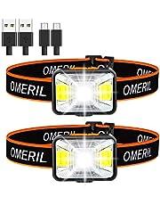 OMERIL Led-hoofdlamp, oplaadbaar via USB, hoofdlamp, zeer helder, waterdicht, mini-hoofdlamp, rood licht voor joggen, hardlopen, kamperen, vissen [incl. USB-kabel] [energieklasse A++]