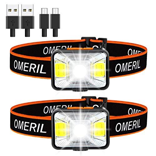 OMERIL Lampada Frontale LED, [2 Pezzi] Torcia Frontale USB Ricaricabile con 5 modalità di Illuminazione, Impermeabile IPX5 Luce Frontale Super Leggero Luce da Testa per Campeggio, Ciclismo, Pesca