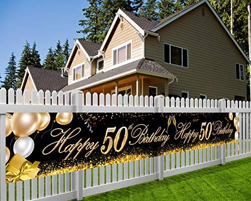 HOWAF Súper Grande Feliz 50 Cumpleaños Pancarta para 50 Años Cumpleaños Decoración Negro y Oro, 50 Cumpleaños Foto Prop Fondo Pancarta de Tela para Jardín Mesa Pared Decoración, 9 * 1.2 Pies
