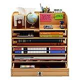 Ecent Organizador de Escritorio de Madera + Caja de Toallas + Cajón con cerradura + Soporte para bolígrafos Soporte de Documentos para Suministros de Oficina, hogar, Necesidades diarias