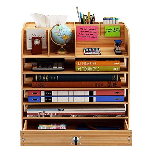 Ecent Büro Organisator Schreibtisch Organizer Holz DIY + Serviettenbox + Stifthalter + Schublade Mit Schloss Dokumentenhalter für Büro, Haushalt und Schule