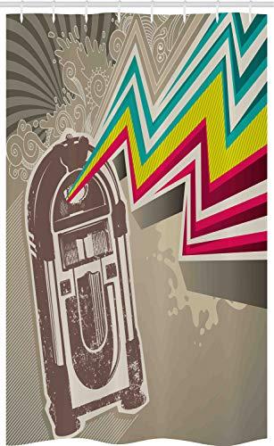 ABAKUHAUS Jukebox Douchegordijn, Radio Party met Zig Zag, voor Douchecabine Stoffen Badkamer Decoratie Set met Ophangringen, 120 x 180 cm, Bleke Grijs en Wit