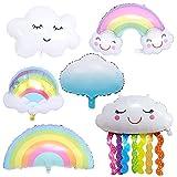 CUIZC Globo blanco de nube arcoíris de aluminio para jardín de infancia, aula, cumpleaños, decoración de arcoíris