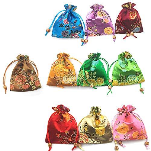 10 bolsas de regalo de seda con cordón para joyas, bolsas de chocolate, bolsa de regalo de peonía, bolsa de regalo para bodas, fiestas, cumpleaños, manualidades