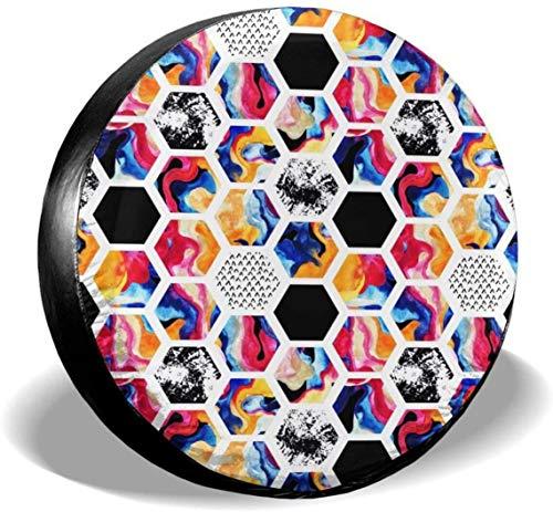 MODORSAN Cubierta de neumático de Rueda de Repuesto geométrica Abstracta marmoleada, Cubiertas de poliéster universales para Ruedas para Jeep, Remolque, RV, SUV, camión, Accesorios, 15 Pulgadas