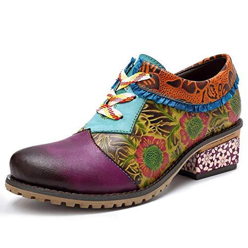 GYHIENS Damen Leder Stiefeletten Winterstiefel Schnür Boots Stiefel mit Absatz Bunter Druck Spleißen Weinlese Lederschuhe Oxford Schuhe(38)