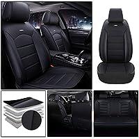 適合アキュラ For Acura RLX Sedan 軽普通車用 シートカバー レザー 防水 エプロンタイプ 前席 運転席 助手席 後部座席 5席 標準版—黒