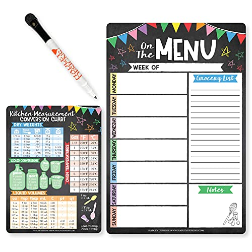 Planificador semanal de comidas de borrado en seco para refrigerador, tablero de menús semanal colorido magnético para cocina. Tabla...