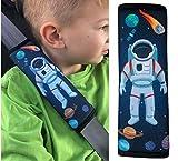 1x Protector para cinturón de seguridad HECKBO® con dibujos de astronauta y del espacio exterior, protector de hombros, almohadilla para el hombro, para bicicleta, para sillín de bicicleta para niños.