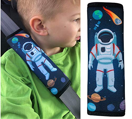 HECKBO® 1x Astronaut Weltall Space Auto Gurtschutz Gurtschoner Sicherheitsgurt Schulterpolster Schulterkissen Autositze Fahrrad Fahrradsitz Gurtpolster für Kinder Jungen Jungs