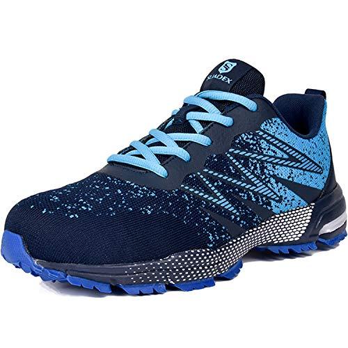 [JACKS HIBO] 安全靴 スニーカー 作業靴 メンズ 鋼先芯(JIS H級相当) メッシュ 通気性 セーフティーシューズ 耐滑ソール クッション性 耐磨耗 オシャレ 新定番 ブルー 25cm
