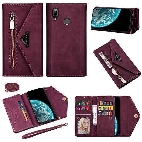 Vepbk Brieftasche Hülle für Huawei P20 Lite [nicht für P20] Handyhülle, Handytasche Case Leder Geldbörse mit Reißverschluss Kartenfach Umhängeband Wallet Cover Klapphülle für Huawei P20 Lite,Weinrot