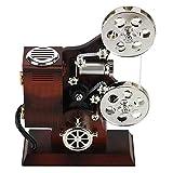 Fdit Carillon Vintage Mini proiettore Stile cinematografico Meccanico Regalo di Compleanno Decorazioni da tavola Meccanico Classico Proiettore cinematografico Carillon con portagioie e Specchio