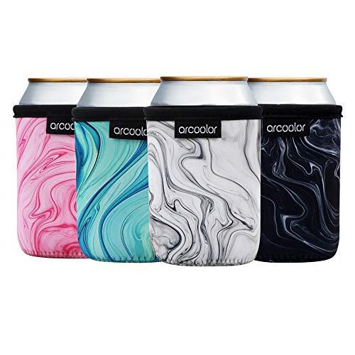 Arcoolor Neoprene Standard Beer Can Skin Cooler Holder Sleeves Beer Cooler Bags for 12oz Energy Drink & Beer (Marble)