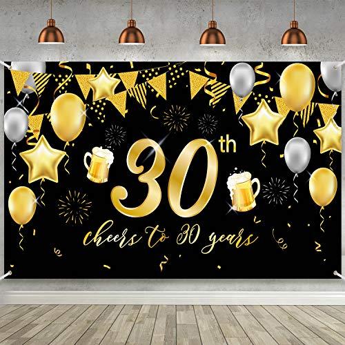 Cartel de 30 Cumpleaños, Póster de Tela Grande Negro Dorado Decoración para Fiesta de 30 Cumpleaños Aniversario, Pancarta de Foto de 30 Cumpleaños Fondo de Foto de Fiesta
