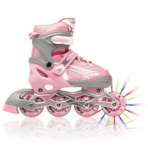 Adjustable Inline Skates for Girls, Featuring Illuminating Front Wheels, Awesome-looking, Comfortable