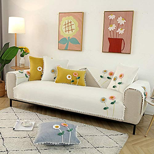 Suuki Funda para sofá y Protector para Mascotas,Funda de sofá de Felpa de Estilo Rural, Fundas de sofá con Estampado de Flores de otoño Invierno, Protector de sofá súper Suave para Sala de Estar-bl