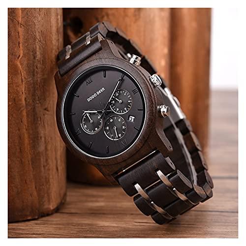 yuyan Reloj de Madera para Hombres Ebony Hecho a Mano Madera Natural La combinación de tecnología y Naturaleza Deportes Deportes Japonés Cuarzo Movimiento Reloj