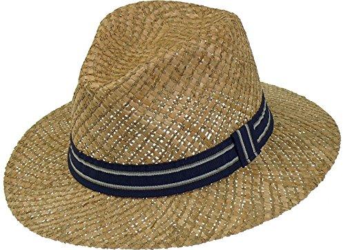 Fiebig Harrys-Collection Sehr Leichter Strohhut aus 2 Stroharten kombiniert, Kopfgröße:57, Farben:Marine
