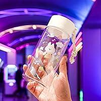 ウォーターカップ 子供用ウォーターカップアンチドロッププラスチックカップ漫画高価値かわいい学校の学生杯屋外広告カップマットバニー トラベル (Color : D)