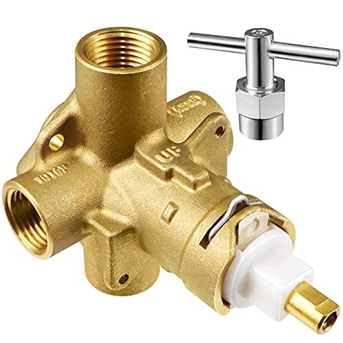 MOEN POSI-TEMP 욕조 및 샤워 싱글 핸들 널리 적용 가능한 1 | 2 인치 IPS 연결 (1222 샤워 카트리지 104421 카트리지 풀러 클립 및 수동 보안)을위한 샤워 POSI-TEMPP 밸브