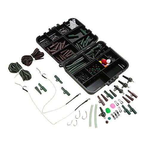 Lixada, 155-teilige Angelausrüstung, Karpfenangeln, Tackle-Box, Sicherheitsclips, Haken, Wirbel, Hair Rigs