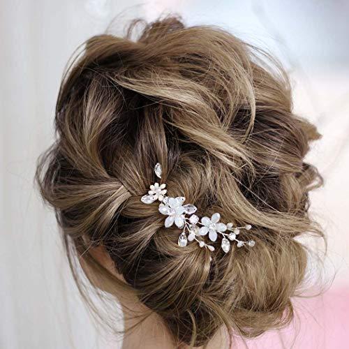 Fairvir Horquillas para el pelo de novia con diamantes de imitación plateados, con perlas, accesorios para el pelo para mujeres y niñas (paquete de 2) (dorado)