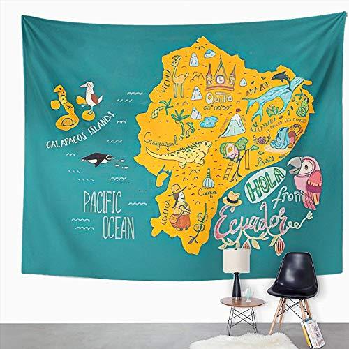 Y·JIANG Tapiz de dibujos animados, mapa de Ecuador e Islas Galápagos atracción turística del campo, tapiz decorativo grande, manta para colgar en la pared para sala de estar, dormitorio, 203 x 152 cm