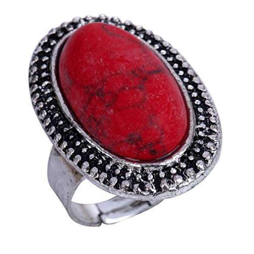 YAZILIND Jewelry Carved Red Rimous Oval Turquoise Tibetan Silver Striking Adjustable Ring