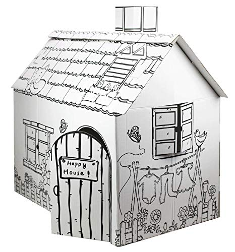 Funtress Cardboard Playhouse for Kids to Color Creatology Gift for Children Paper House for Toddlers(30.3x18x32/18.5 Inch)