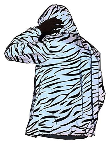 Chaqueta de luz Reflectante Hombres Mujeres Malla noctilucente Cebra Rompevientos Chaquetas con Capucha Cadera Hip-Hop Streetwear Noche Abrigos (Size : Medium)