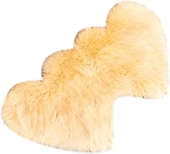 2pcs Heart Shaped Faux Sheepskin Sofa Cover Seat Pad Shaggy Area Rugs for Bedroom Floor - Beige